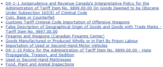 Prohibited And Restricted Exports To Canada From India