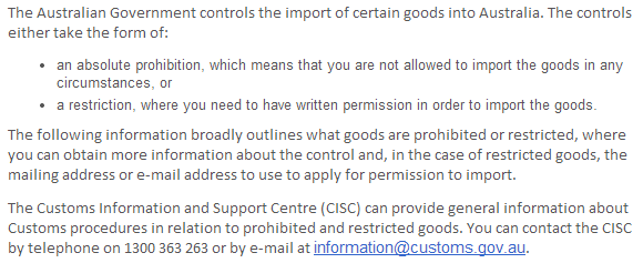 prohibited and restricted items for australia when sending-from bangalore